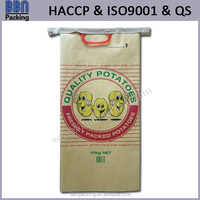 printed paper potato bag with plastic handle
