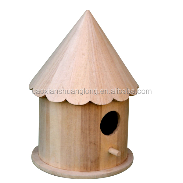 2016 Natural Unfinished Wood,Unique Decorative Traditional Wood Birdhouse