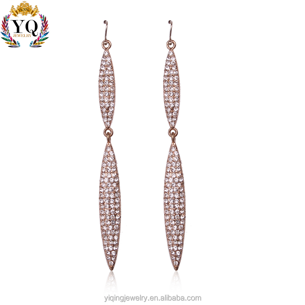 EYQ-00238 fashion fancy design charming elegant diamond long jewelry earrings gold plated