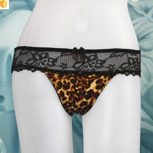Latest nylon lace and leopard cotton mature g-string thong