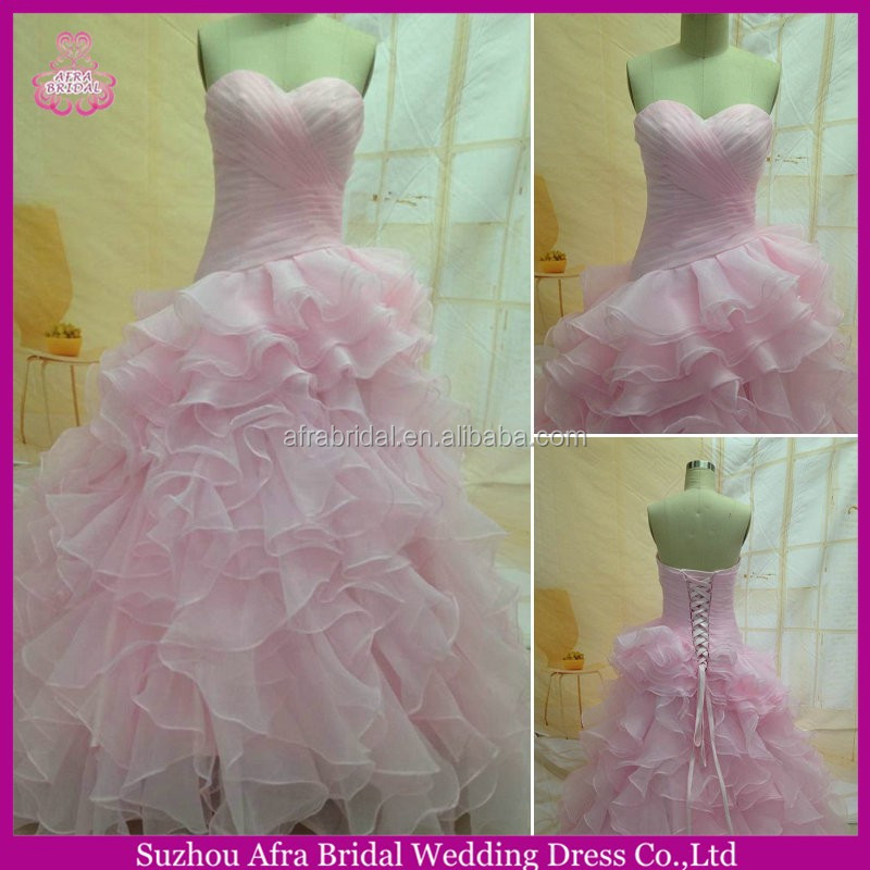 SW1169 Sweetheart Organza Tiered Skirt Cheap Alibaba Pink Wedding Dresses Made In China