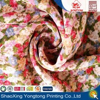 chiffon fabric print flower design for woman garment