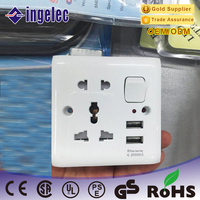 Top Quality New Arrival 5 Pin Plug Socket 2 USB Port Wall Switch and Socket