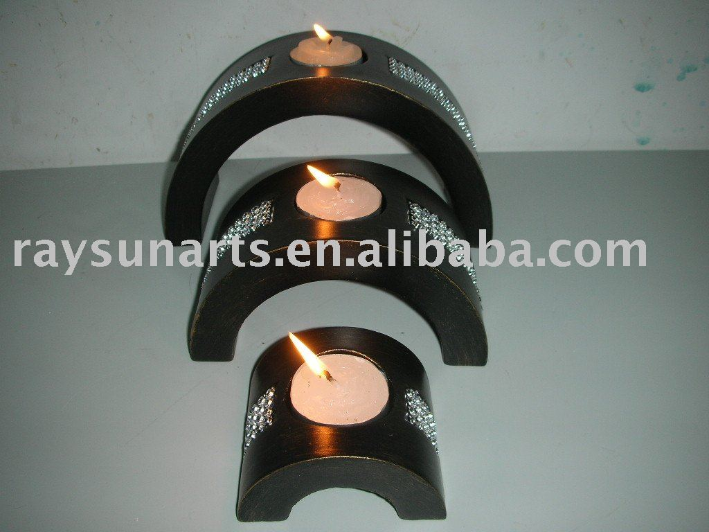 wooden arch base candle holder with diamonds