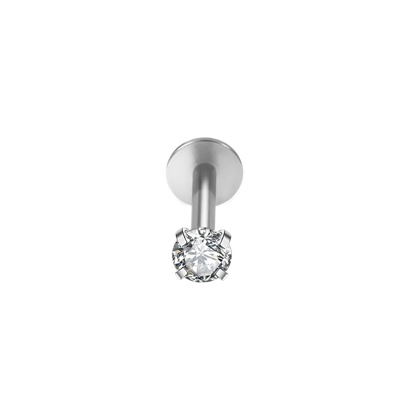 New design threadless body piercing jewelry surgical steel 18g push in labret lip ring with white cz stone