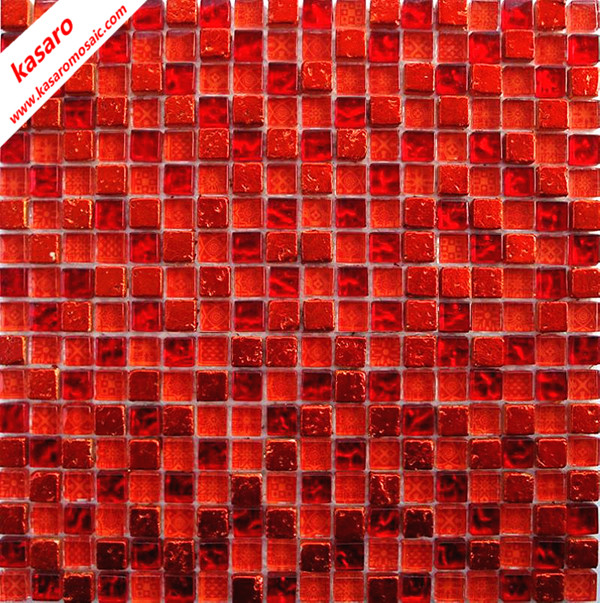 Rouge verre m lange carreaux en pierre de la mosa que for Carrelage mural mosaique