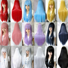 100cm White Purple Yellow Blue Pink Red Long Straight Hair Wigs Cosplay Wig