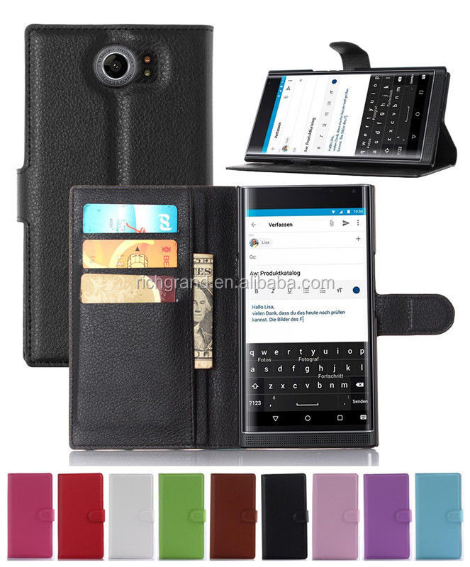 NEW Litchi PU Leather slots wallet stand flip Cover Case for Blackberry Priv 4G