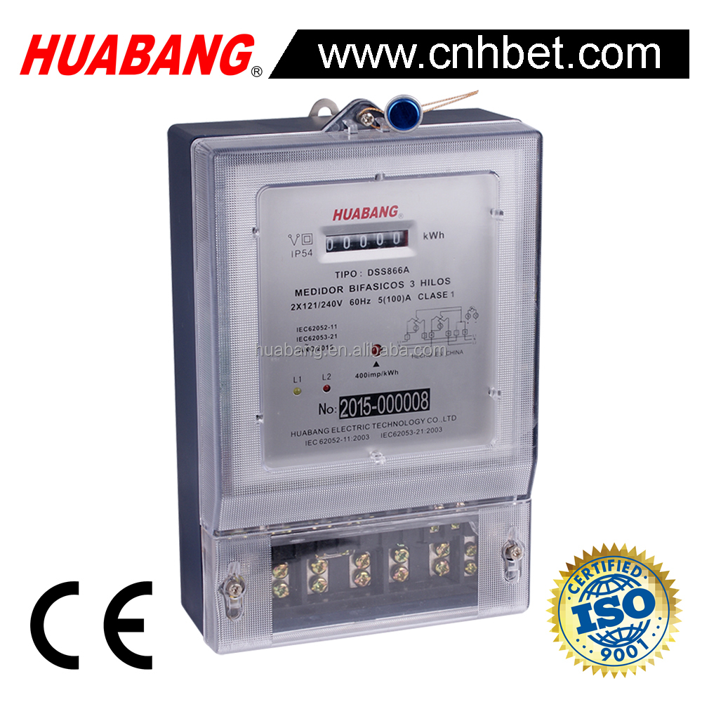 Two phase three wire electronic kwh meter 2L+N energy meter