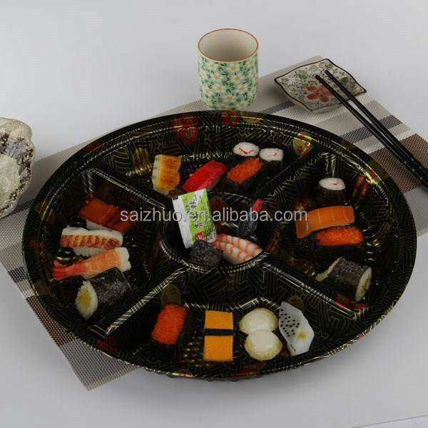 embossing momiji thickness round disposable plastic 5 divider food tray