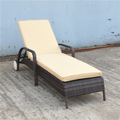 Stackable Rattan Chaise Lounge Chairs With Wheel