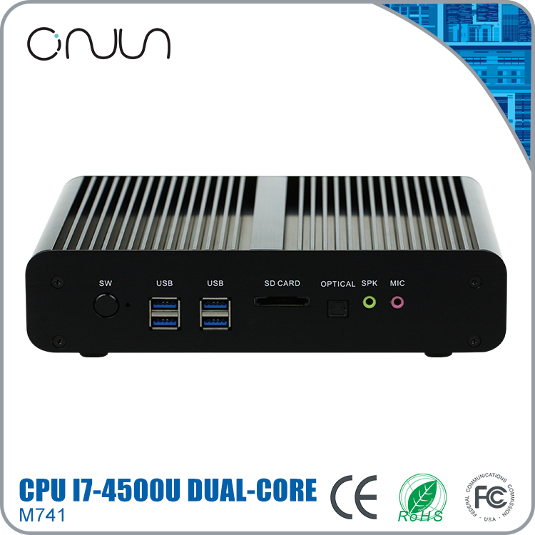 Free shipping mini pc case 8gb RAM VGA 2 LAN 12v fanless gaming computer i7-4500u