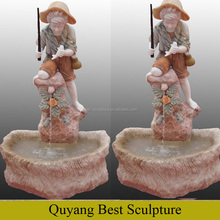 2017 New Desgin Marble Boy Fishing Statue Outdoor Water Fountain with Statues
