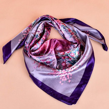 Wholesale modern print flower square polyester silk head scarf dress clothing wrap girls satin shawl