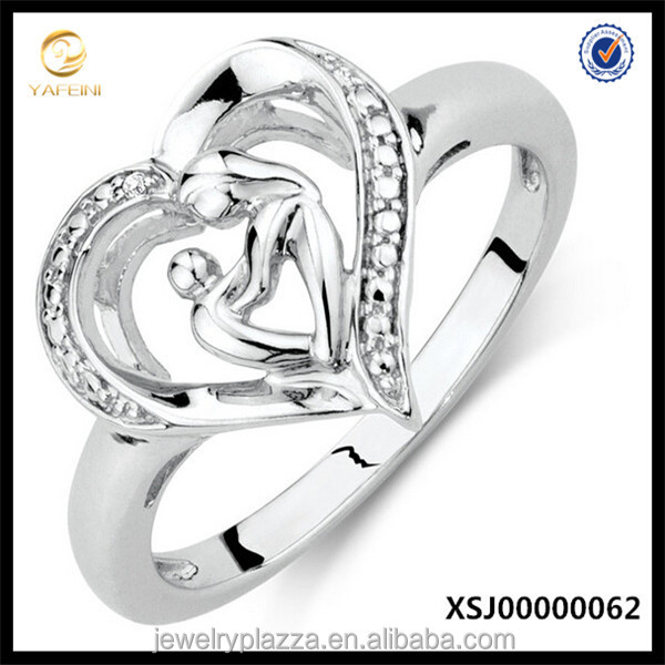 Sterling Silver Mother& Child Heart Ring Fashion Jewelry 2015