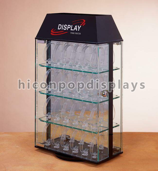 Novel Design Countertop Watch Bracelet Promotional Rotating Plexi Glass Jewelry Display Shelves