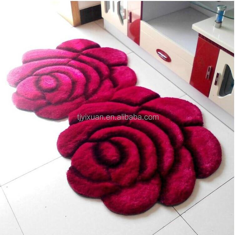 Red Rose Design Shaggy Carpet For Living Room