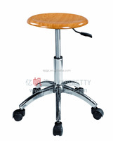Cheap Lab stools with wheels Adjustable Wooden Seat Stool