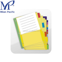 25CT letter size sheet protector rewritable colorful divider 5 tab or 8 tab paper index