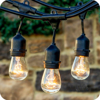 Garden party globe party string lights outdoor whit vintage edison bulbs