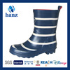 Children Soft Rubber Boots Dark Blue with White Stripe Print Hot Selling