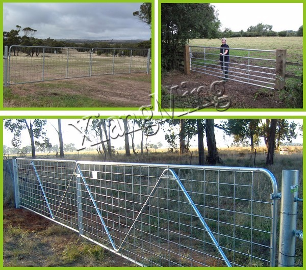galvanised farm field fence panel and gate