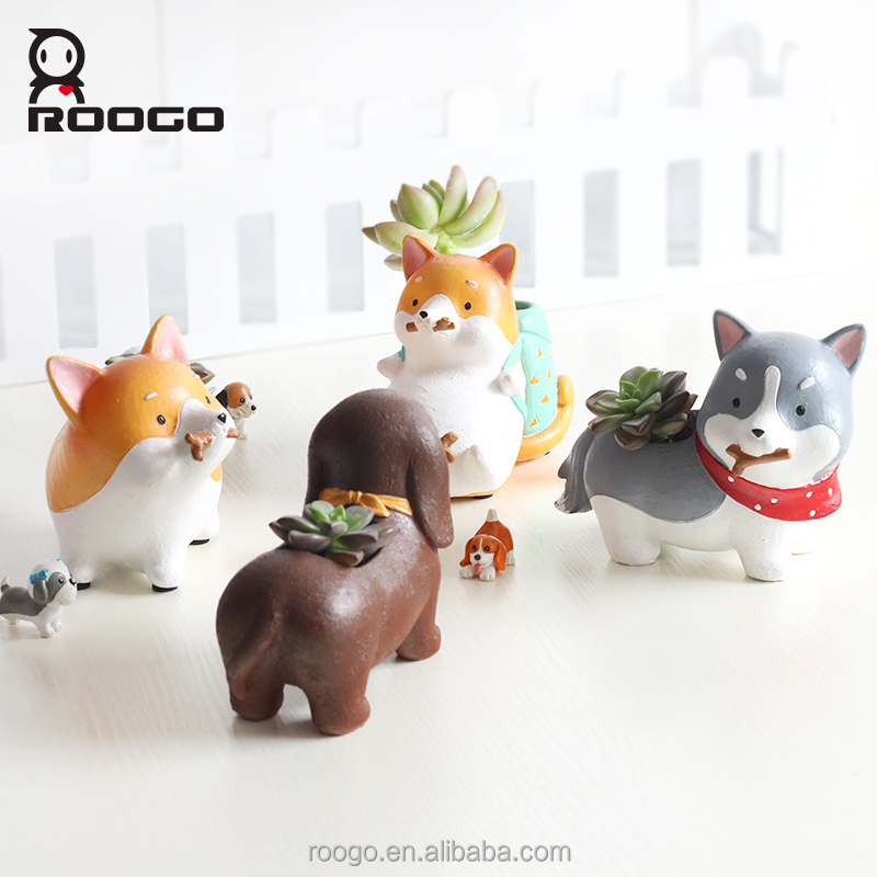 Roogo polyresin cute cartoon animal akita corgi dog plants flower pot for gallery balcony