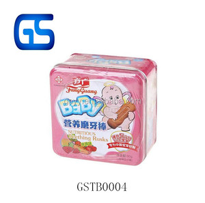 Cute Pink Metal Square Packing Box Tin Box for Baby Teething Rusks