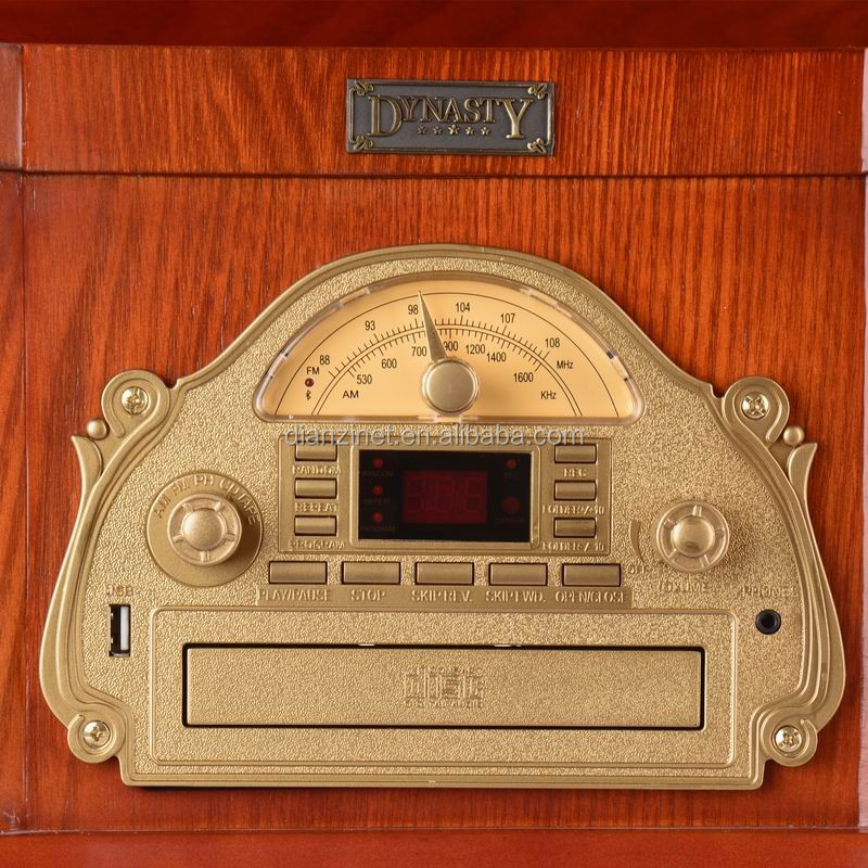 Wooden Vintage phonograph with AM/FM radio, bluetooth, USB, CD player, and tape
