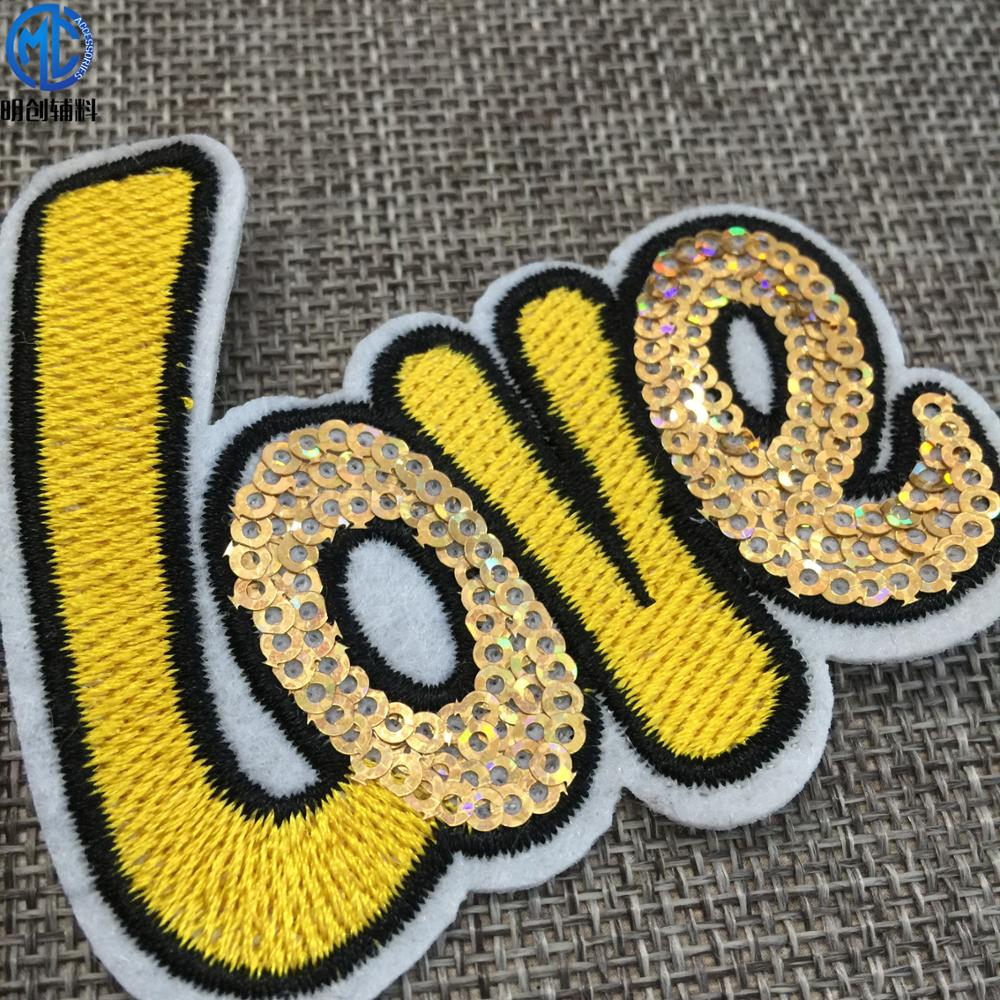 Multi-color embroidered sequin love letter patch for kids clothing