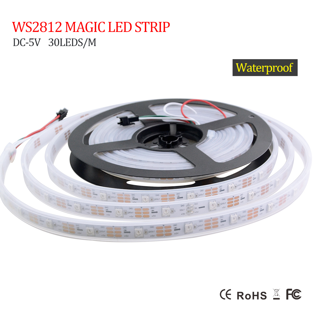 individually addressable 5m waterproof ip67/ip30 5050 rgb 30 60 144 led/m 5v ws2811 ws2812 ws2812b led strip black/white pcb