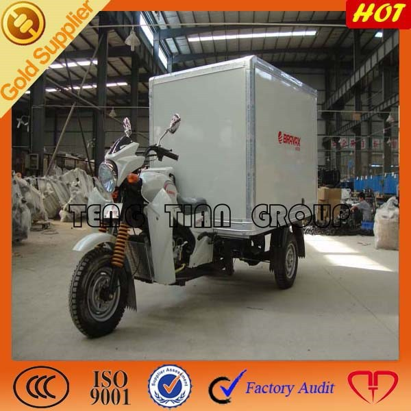 high quality new three wheel cargo motorcycle/250cc 300cc water cooling cargo tricycle with driver cabin and closed box
