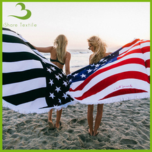 USA flag towel round beach towel mandala towel with tassel