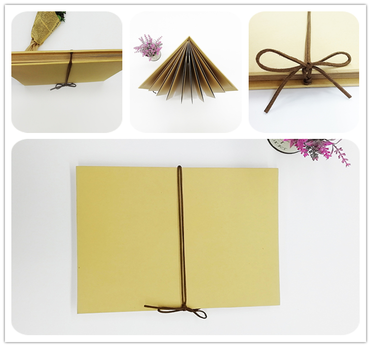 A4  Kraft Paper Scrapbook Accordion Album With Ribbon Closure