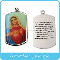 Laser Cut Resin Holy Mary Photo Silver Dog Tag Stainless Steel Charms Jewelry Scripture Pendant