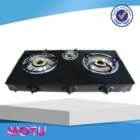 3 burners high temperature glass panel gas stove / cook top / table stove