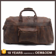 Weekender Gym Travel Brown Genuine Leather Duffle Bags for Men