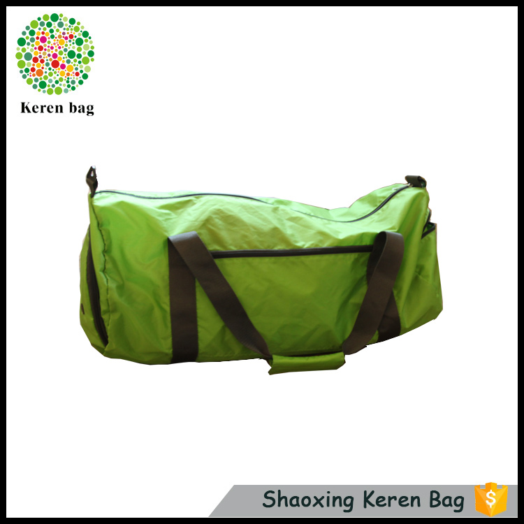 Wholesale men green foldable lightweight nylon travel sport duffel bag