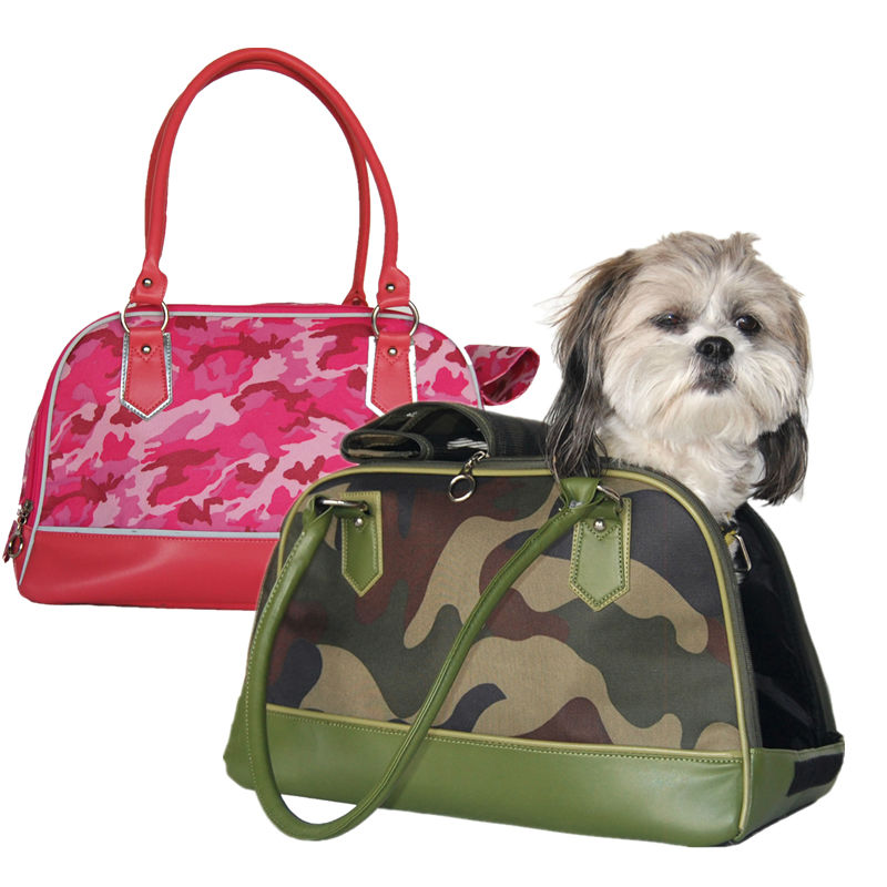 Dog Pink and Green Camo Bag Pet Travel Carrier