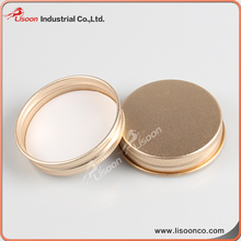 Gold tinplate flat screw cap for glass / plastic bottle