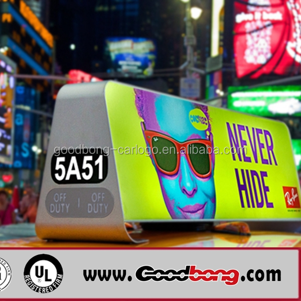 Taxi led display advertising light box for taxi top