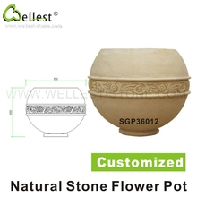 garden decorative hand carved natural stone flower pot