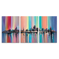 3 Pieces Wall Art Modern Cityscape Canvas Prints Knife Painting Prits Wall Poster for Hotel Living Room Ready to Hang on Wall