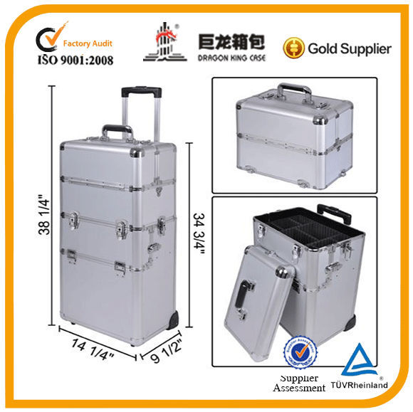 trolley cosmetic case, professional hairdresser case with wheels