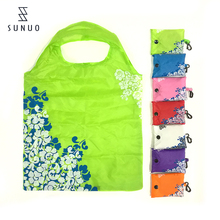 Square Shape Flower Printing Nylon Foldable Reusable Shopping Bag