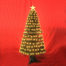 Outdoor Wire Lighted 3' Artificial Fiber Optic Christmas Tree with Warm White Lighting