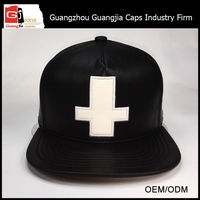 Guangjia Cap Manufacturer Custom Fabric 3D Embroidery Black PU Leather Snapback With Your Logo