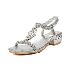 Ladies rhinestones sandals women flat silver comfortable sandals