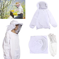 Hot Sale High Quality Protective Bee Keeping Jacket Veil Suit Smock Equipment+1 Pair Beekeeping Long Sleeve Gloves