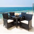 outdoor wicker dining table & chairs